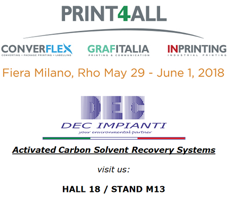DEC IMPIANTI, solvent recovery, exhibition, PRINT4ALL, visit us, Milano